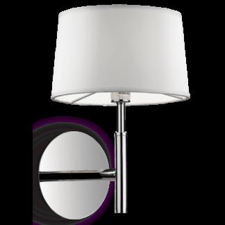 HILTON Væglampe i metal og tekstil H26 cm 1 x G9 - Krom/Hvid