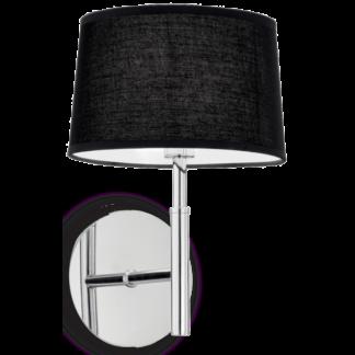 HILTON Væglampe i metal og tekstil H26 cm 1 x G9 - Krom/Sort