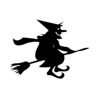 Halloween wallsticker. Stor heks på flyvende kost. 55x43cm.
