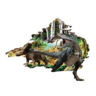 Hul i væggen wallsticker. Dinosauerne på vej ind på værelset.