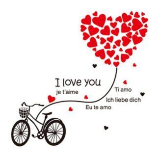 I Love You wallsticker. Kærlighed på cykel. 120x110cm