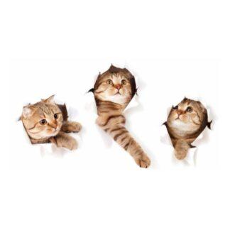 Katte wallsticker. På vej igennem væggen.