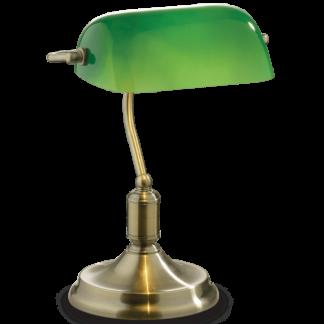 LAWYER Bordlampe i metal og glas H38 cm 1 x E27 - Antik messing/Grøn