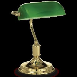 LAWYER Bordlampe i metal og glas H38 cm 1 x E27 - Messing/Grøn