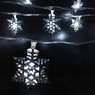 LED-Lyskæde med sølv Snefnug 3,5 meter