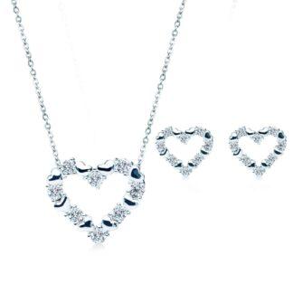 Loving hjerte gavesæt sølv