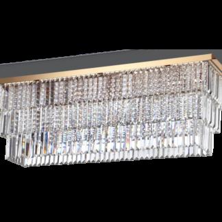 MARTINEZ Loftlampe i glas og metal 103 x 30,5 cm 8 x E14 - Guld/Klar