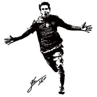 Messi scoring. Flot fodbold wallsticker. 60x57cm