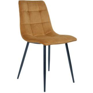 Middelfart spisebordsstol H86 cm velour - Sort/Sennepsgul