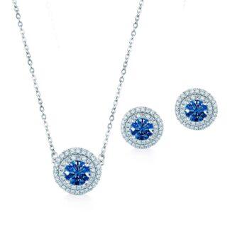Oxford dobbelt blå halo gavesæt sølv