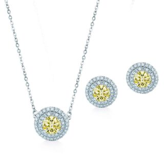 Oxford dobbelt gule halo gavesæt sølv