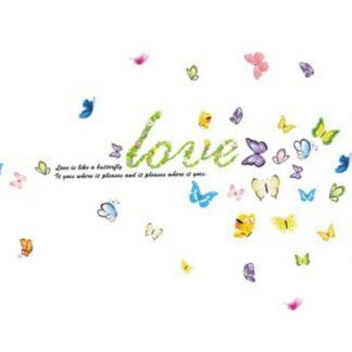 Sød wallsticker med butterfly love. Kærlighed og sommerfugle.