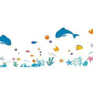 Sød wallsticker med masser af akvariefisk. 120-40cm.