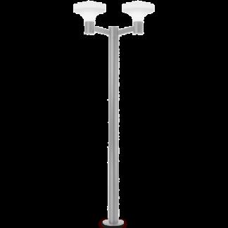 SOUND Dobbelt Bedlampe i aluminium og plast H217 cm 2 x E27 - Grå/Hvid