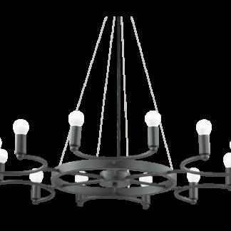 SPACE Lysekrone i metal Ø87,5 cm 12 x E14 - Mat sort
