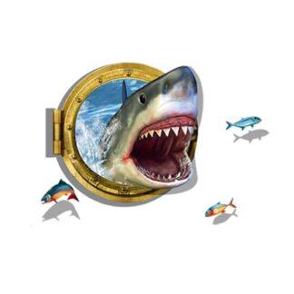 Sej wallsticker med en skrækindjagende haj. 3D effekt.