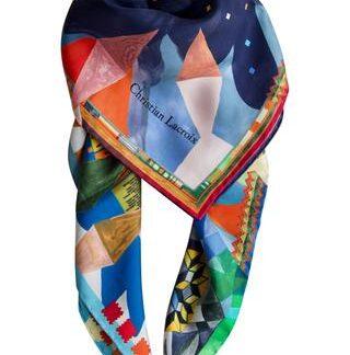 "Silketørklæde ""Arlecchino"" dyb blå"