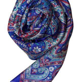 Silketørklæde i klar blå