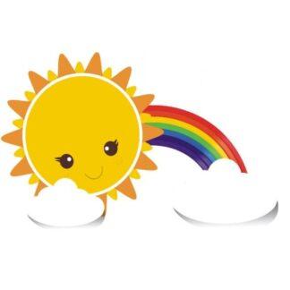 Sol, regnbue og skyer. Sød wallsticker der spreder godt humør.