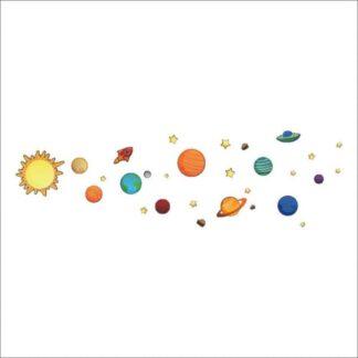 Solsystemet for børn. Flot wallsticker med alle planeterne.