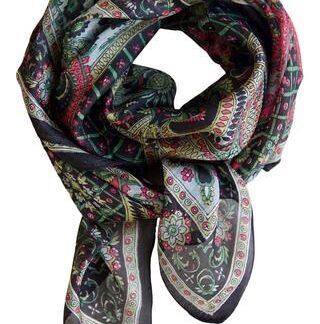 Sort silketørklæde i douce farver