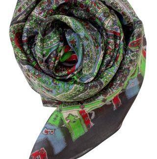 Sort silketørklæde med klar grøn