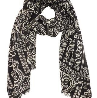 Sort tørklæde i klassiske farver