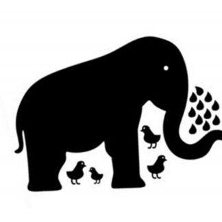 Stor elefant tavle. Wallsticker til kridt. 90x60cm