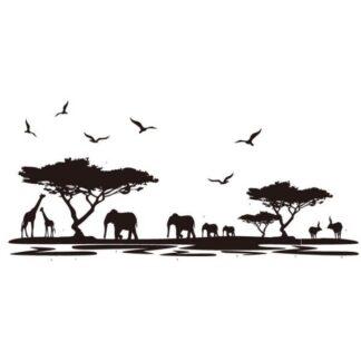 Stor og flot wallsticker med dyrene på Savannen. 160x75cm.