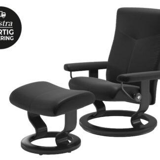 Stressless Dover lænestol + fodskammel med Classic stel