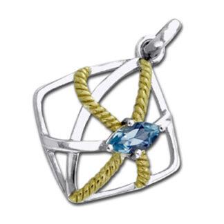 Vedhæng med Blå Topas - u/kæde