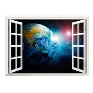 Vindue til det ydre rum. Wallsticker med fri udsigt til Jorden.