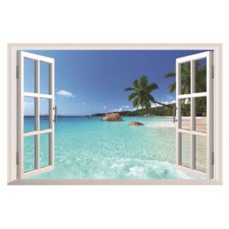 Vindue til paradis. Wallsticker med stranden som nabo. 90x60cm.