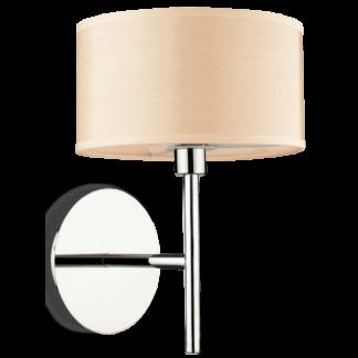 WOODY Væglampe i metal og folie H18 cm 1 x G9 - Krom/Trælook