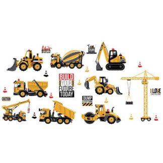 Wallsticker med maskiner fra en byggeplads. Lastbiler,kraner mm