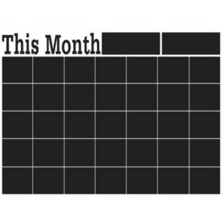 Wallsticker tavle til kridt. 'This month' kalender. 58x43cm