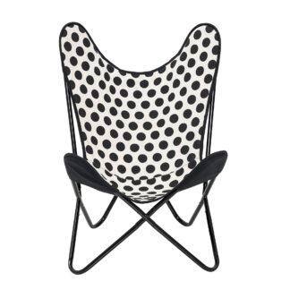 Bloomingville butterfly stol (hvid/sorte prikker)