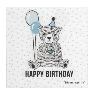 Bloomingville servietter (happy birthday/blå bjørn)