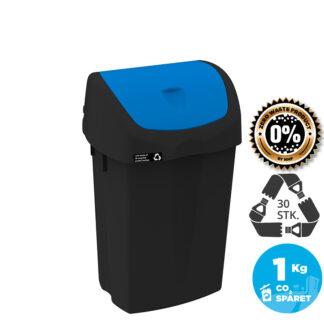 NRW Affaldsspand med blåt vippelåg, bæredygtig, 25 L