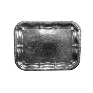 Serveringsfad til engangsbrug, sølvblik, 31x41 cm