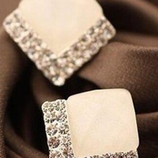 White diament øreringe