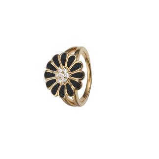 Christina Forgyldt sølv ring med sort marguerite - 4.5B Størrelse 53