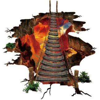 Hængebro wallsticker. Bro over flydende lava. Til væg eller gulv