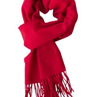 Klassisk rødt uld tørklæde fra Moschino