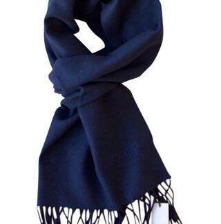 Mørke blåt tørklæde i ren uld fra Moschino