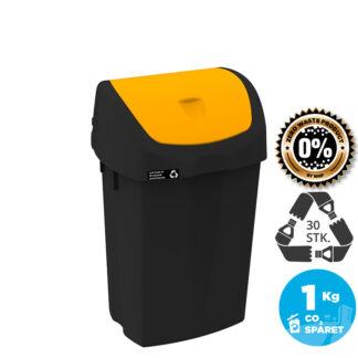 NRW Affaldsspand med gult vippelåg, bæredygtig, 25 L