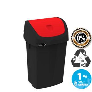 NRW Affaldsspand med rødt vippelåg, bæredygtig, 25 L