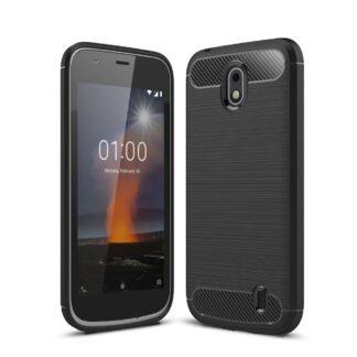 Nokia 1 - Gummi cover/etui i Børstet Design - Sort