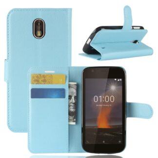 Nokia 1 - Læder cover / pung - Blå