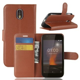Nokia 1 - Læder cover / pung - Brun